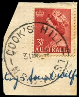 Lot 801:Cook's Hill: - 'COOKS HILL/31DE53/N.S.W-AUST' on 3½d red QEII.  Renamed from Darby Street PO 13/3/1944; closed 1/3/1995.