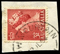 Lot 1328:Crow Mountain: - '[CR]OW MOUNTAIN/??JL54/[N.S.]W' on 3½d red QEII.  RO 20/6/1895; PO 16/3/1896; TO 1/2/1961; closed 31/5/1974.