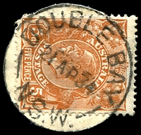 Lot 824:Double Bay: - 'DOUBLE BAY/21AP34/N.S.W.' on 5d brown KGV (cut-to-shape).  PO 1/5/1933.