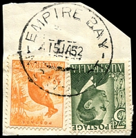 Lot 830:Empire Bay (1): - 'EMPIRE BAY/15JA52/N.S.W-AUST' on ½d Roo & 3d green KGVI.  RO 24/6/1908; PO 15/9/1909.