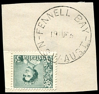 Lot 836:Fennell Bay: - 'FENNELL BAY/19AU63/N.S.W.-AUST' on 3d green QEII.  PO 17/11/1947.