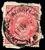Lot 1379:Liverpool Military Camp: - 'LIVERPOOL MILITARY CAMP/11JA18/=N.S.W=' on 1d red KGV.  PO 25/2/1915; closed 14/12/1918.