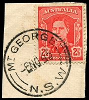 Lot 919:Mount George: - 'MT GEORGE/6NO45/=N.S.W=' on 2½d red KGVI.  TO 16/9/1914; PO 7/2/1916.