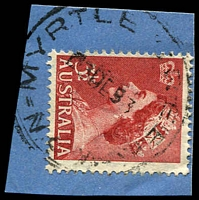 Lot 1407:Myrtle Creek: - 'MYRTLE CREEK/3DE53/N.S.W' (LRD by 7 years) on 3½d red QEII. [The first offered by us.]  PO 1/5/1893; closed 6/7/1962.