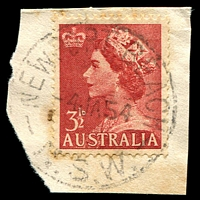 Lot 6836:Newport Beach: - 'NEWPORT BEACH/4JA54/N.S.W.' (LRD) on 3½d red QEII (toned areas).  PO 12/11/1928.
