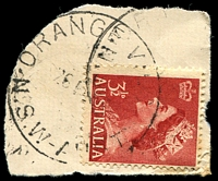 Lot 6788:Orange West: - 'ORANGE WEST/26????/N.S.W-AUST' on 3½d red QEII.  PO 1/8/1946; closed 14/10/1977.