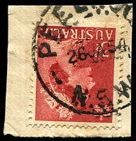 Lot 1424:Peelwood: - 'PEELWOO[D]/26JA54/N.S.W.' on 3½d red QEII.  PO 1/6/1871; closed 31/1/1972.