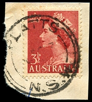 Lot 961:Platt's: - 'PLATTS/?????3/=N.S.W=' (sic) on 3½d red QEII. [The first offered by us.]  Renamed from Mahratta Station RO 12/4/1903; PO 1/1/1916; TO 14/3/1959; closed 14/10/1959.