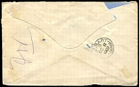 Lot 1427 [2 of 2]:Port Macquarie: - 2 strikes of 'PORT MACQUARIE/2-OC07.745PM/N.S.W' on 2d blue on Tatts cover (pin holes, small stain, part of flap missing).  PO 1/8/1832.