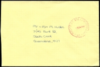 Lot 1465:Villawood (2): - 'PAID AT VILLAWOOD/-23NO87/N.S.W-AUST' in red on cover.  PO 1/5/1950.
