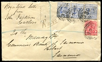 Lot 1236 [1 of 2]:330: 4 strikes of rays '330' (2R35), on 1d Arms & 2d blue x3, framed 'MENINDIE/NO17/1903/N.S.W' (B2) on registered Tatt's cover.  Allocated to Perry-PO 1/1/1861; renamed Menindie PO 1/6/1866; renamed Menindee PO 15/4/1918.