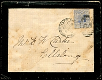 Lot 1224:64: framed duplex (4D2) 'WEST MAITLAND/AP15/8.30PM/03/N.S[.W] - 64' on 2d blue on a mourning cover, letter included, toning, aged.  Allocated to Maitland-PO 1/9/1829; renamed West Maitland PO c.1852; renamed Maitland PO 1/4/1949.