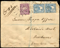 Lot 1243 [1 of 2]:702: 3 strikes of rays on 1d & 2d Centennial pair on registered cover to Queensland, tied with framed 'HARTLEY VALE/JY22/1893/N.S.W' (B2) and framed 'MOUNT VICTORIA/JY22/1893/N.S.W' (A2) transit on reverse, missing corner, soiled etc.  Allocated to Hartley Vale-PO 1/8/1873; closed 31/10/1967.