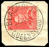 Lot 1569:Blackbutt: - 28½mm 'BLACKBUTT/27FE41/QUEENSLAND' on 2d red KGVI.  RO c.1896; PO c.-/11/1906.