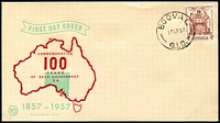 Lot 1582:Booval: - 'BOOVAL/17AP57/QLD.' on 4d Resp. Govt. Centenary on illustrated Wesley FDC, unaddressed. [Rated S]  RO c.1883; PO c.-/8/1912; renamed Booval Fair PO 4/3/1991.