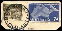 Lot 1586:Bowen: - 'M.O.O. BOWEN/31OC58/QLD-AUST' on 7d Flying DoCTOr & 9d Platypus.  Renamed from Port Denison PO c.1865.