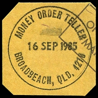 Lot 1597:Broadbeach: - 31mm 'MONEY ORDER TELLER/16SEP1985/BROADBEACH, QLD. 4218' on piece.  PO 1/4/1941.