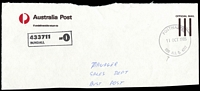 Lot 1602:Bundall (2): - 'POSTMASTER/11OCT1985/BUN[D]ALL Q. 4217' on stampless APO cover front (reduced). ['D' of BUNDALL disappeared.]  PO 15/10/1979.