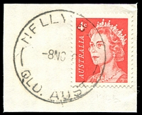 Lot 1207:Nelly Bay (1) 'NELLY BAY/8NO?6/QLD.AUST' on 4c red QEII. [Rated R]  RO 1/8/1923; PO 1/7/1927; closed 15/10/1982. [Magnetic Island]
