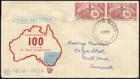Lot 1692:North Ward: - 'NORTH WARD/26SE56/QLD-AUST', on 3½d Resp. Govt pair on illustrated Wesley FDC, addressed.  PO 4/11/1946; closed 2/7/1979.