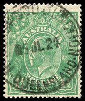 Lot 7853:Ravenswood Junction: - 'RAVENSWOOD JUNCTION/5JL24/QUEENSLAND' on 1½d green KGV. [Rated R]  PO 9/11/1881; renamed Mingela PO 13/3/1931.