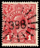 Lot 7060:398: on 1d red KGV. [Rated 2R]  Allocated to Stonehenge-RO c.1883; PO 1/5/1885; closed c.1985.