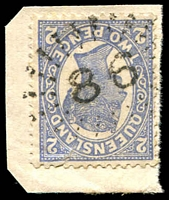 Lot 1519:86: rays on 2d blue 4-Corners.  Allocated to Gayndah-PO 1/1/1850.