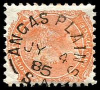 Lot 1743:Angas Plains (2): - unframed 'ANGAS PLAINS/JY4/85/S.A' on 2d orange DLR.  PO 1/11/1869; closed c.-/9/1910.
