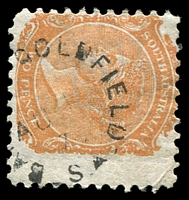 Lot 1749:Barossa Goldfields (2): - unframed 'BA[ROSSA] GOLDFIELD/AU1?/7?/S_A' on 2d orange DLR (with margin). [Rated R]  PO 1/7/1876; closed 31/12/1907.