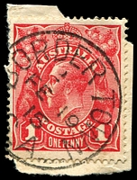 Lot 1295:Bordertown: - framed 'BORDER TOWN/2/FE19/15/S_A' on 1d red KGV.  PO 1/10/1865.