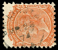 Lot 8307:Callington: - 21mm unframed 'CALLINGTON/MR28/74/S.A' on 2d orange DLR. [Rated 3R - the first offered by us.]  PO 15/6/1857; closed 28/11/1988.