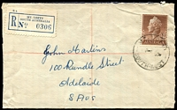 Lot 1806:Mount Lofty: - 'MT. LOFTY/4P3AU6-/SOUTH-AUST' (LRD - error for '59') on 1/7d QEII on opened-out cover with blue registration label.  PO 1/2/1884; renamed Stirling South PO 19/6/1967.