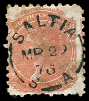 Lot 9811:Saltia (1): - unframed 'SALTIA/MR29/76/S_A' on 2d orange DLR (toned). [Rated 2R - A similar copy realized $105 in sale #60.]  PO 23/11/1869; closed 22/7/1879.