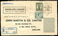 Lot 1937:Wanilla: - 2 overlapping strikes of 'WANILLA./1?JY59/SOUTH-AUST' on 3d green QEII & 1/- Lyrebird on John Martin Business Reply Envelope (opened-out) with blue registration label.  TO 30/6/1949; PO 17/10/1949; closed 26/8/1983.