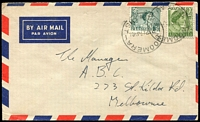 Lot 1989:Woomera: - 2 partly overlapping strikes of 'WOOMERA/??P17JY61/SOUTH-AUST' on 2d green QE & 3d green QEII on Air Mail cover to Melbourne.  PO 26/11/1951; LPO c.-/3/1993.