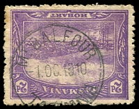 Lot 1375:Balfour: - 'MT BALFOUR/-1OC1910/TASMANIA' on 2d Pictorial.  Renamed from Mount Balfour PO 15/7/1910; RO 1/1/1927; PO 1/6/1927; closed 31/12/1927.