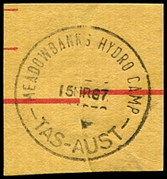 Lot 10719:Meadowbanks Hydro Camp: - 'MEADOWBANK HYDRO CAMP/15MR67/TAS-AUST' on registered piece. [Rated R]  PO 15/10/1962; closed 7/4/1967.