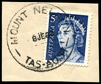 Lot 10899:Mount Nelson: - 'MOUNT NELSON/8JE68/TAS-AUST' on 5c blue QEII.  Renamed from Rialannah PO 1/1/1957; closed 30/4/1971.