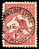 Lot 2085:North Mount Lyell: - framed 'NORTH MOUNT LYELL/MR11/14/TASMANIA', on 1d Roo. [Rated 2R]  PO 1/10/1898; closed 31/5/1921.