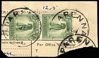 Lot 1508:Parenna: - 3 strikes (2 overlapping) of 'PARENNA/????51/KING IS.' on 1/- Lyrebird pair on telegram piece. [Rated 4R]  TO 9/12/1920; closed 28/6/1956.