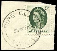 Lot 1518:Pipe Clay: - 'PIPE CLAY/25SE64/TAS-AUST' on 5d green QEII. [Rated R]  PO 20/11/1961; renamed Cremorne PO 31/5/1968.
