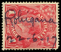 "Lot 1552:Robigana: - mss ""Robigana/22-6-17"" on 1d red KGV. [Rated R]  RO 1/5/1914; PO c.1922; renamed Paper Beach PO 1/6/1968."