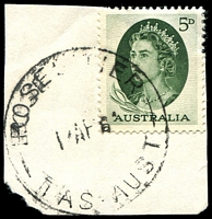 Lot 1561:Roses Tier: - 'ROSES TIER/1?AP64/TAS-AUST' on 5d green QEII. [Rated 3R]  TO 10/8/1954; closed 30/11/1964.