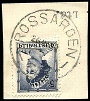 Lot 10824:Rossarden: - 'ROSSARDEN/26AU60/TAS.' on 5d blue QEII.  PO 20/11/1933.