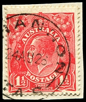 Lot 1577:Shannon (5): - '[S]HANNON/24AU26/TAS' on 1½d red KGV. [Rated 2R]  PO 1/12/1925; closed 9/12/1931.