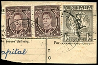 Lot 2111:Stonehenge (2): - 2 strikes of 'STONEHENGE/??JA51/TAS-AUST' on 3d brown KGVI pair & 1/6d Hermes. [Rated 2R]  PO c.1897; RO c.1914; PO 1/6/1927; closed 21/4/1969.