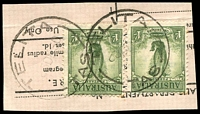 Lot 2128:Telita: - 2 strikes of 'TELITA/23DE50/TAS' (inverted '2') on 1/- Lyrebird x2 on telegram piece.  Renamed from Ayr RO 1/2/1923; PO 1/6/1927; closed 30/11/1967.