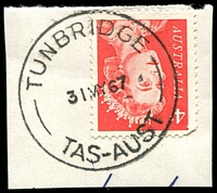 Lot 10966:Tunbridge: - 'TUNBRIDGE/31MY67/TAS-AUST' on 4c red QEII.  PO 17/3/1856.