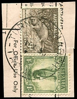 Lot 2148:Turners Marsh (2): - 'TURNERS MARSH/1MR50/TAS-AUST' on 9d Platypus & 1/- Lyrebird on telegram piece. [Rated R].  PO 1/7/1890; closed 30/4/1971.