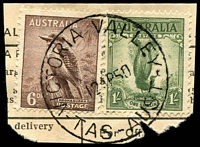 Lot 2153:Victoria Valley: - 'VICTORIA VALLEY/12AP50/TAS-AUST' on 6d Kookaburra & 1/- Lyrebird on telegram piece.  RO 1/7/1902; PO c.1904; closed 28/2/1962.